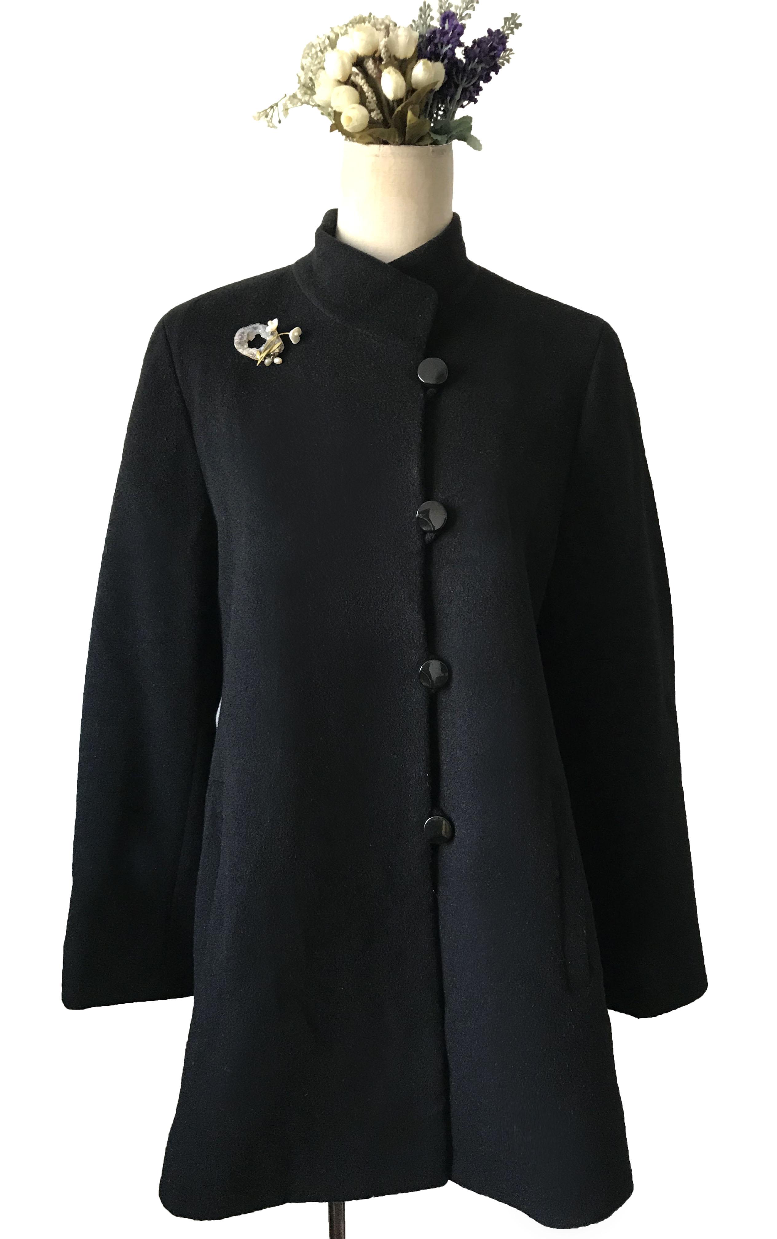 Vintage classic elegant expensive brand temperament black large air field long wool coat boutique recommendation