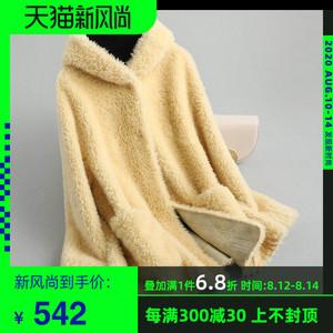 咔琦娜2019新款羊羔毛皮草复合皮毛一体外套女装连帽短款羊毛大衣
