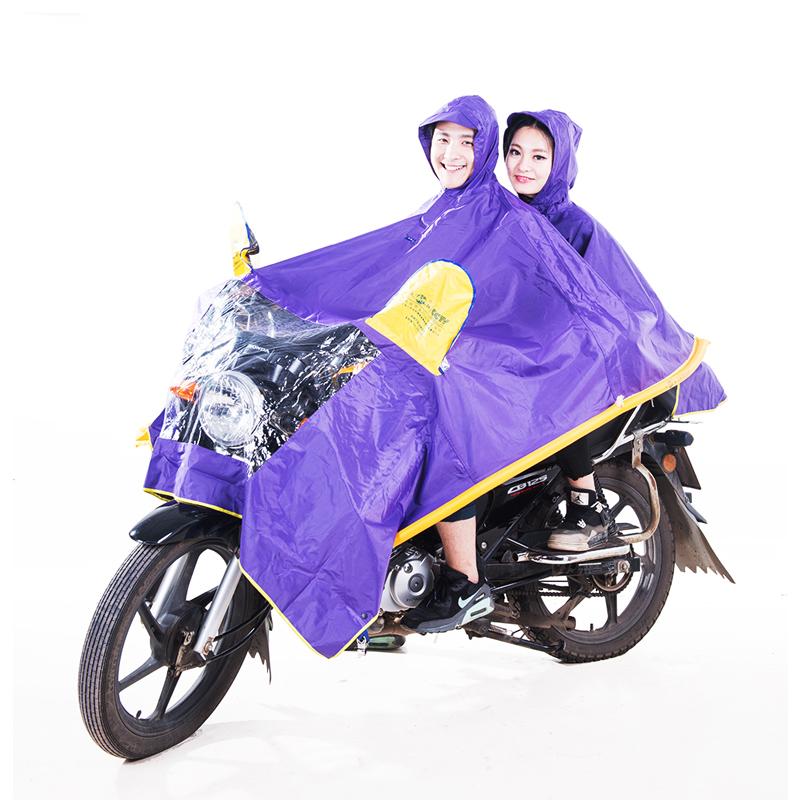 正招双人摩托车雨衣双人加大加厚雨衣电动车气管防飘雨披包邮P12