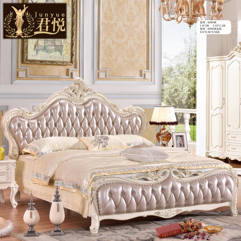 全实木欧式床橡木真皮床1.8米1.5米简欧轻奢双人床公主床婚床大床