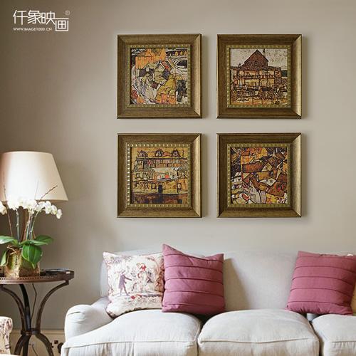 席勒复古客厅装饰画沙发背景墙画餐厅欧式挂画卧室美式风景三联画图片