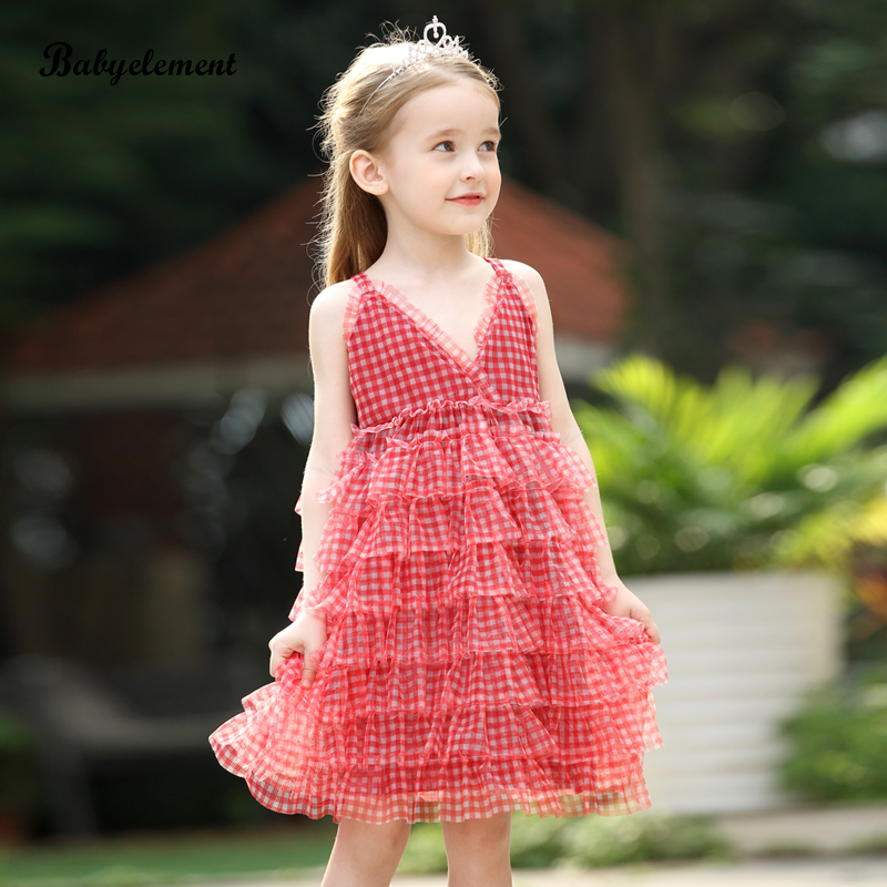 Girls' dress summer dress 2020 new foreign children's dress summer Plaid suspender puff yarn skirt princess skirt
