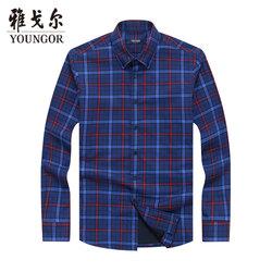 雅戈尔长袖衬衫官方冬季新款男士商务休闲棉加厚保暖格子衬衣3375