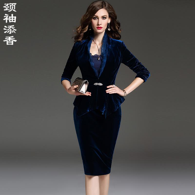 颈袖添香2018秋冬新款时尚OL职业装女装套装丝绒小西装套裙两件套