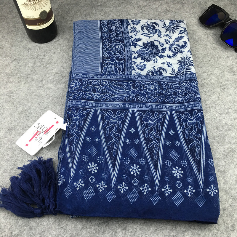 Retro national style blue and white porcelain tassel cotton and linen scarf foreign trade literature and art elegant super large Qinghai Lake shawl silk scarf female