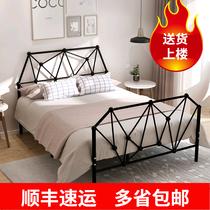 现代简约成人儿童铁艺床单人宿舍公寓铁架子床1.5米1.8米双人铁床