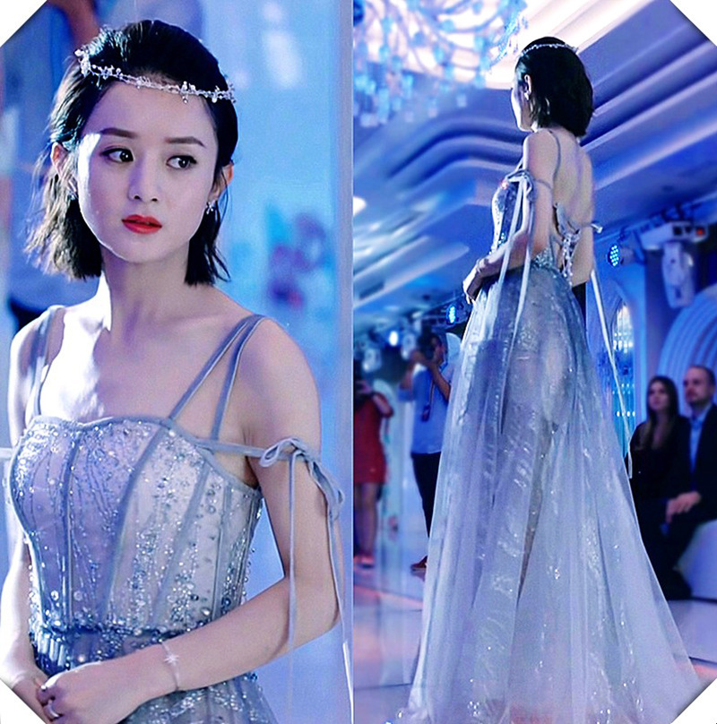 Zhao Liyings same annual meeting dress sequins blingling sparkle suspender dress