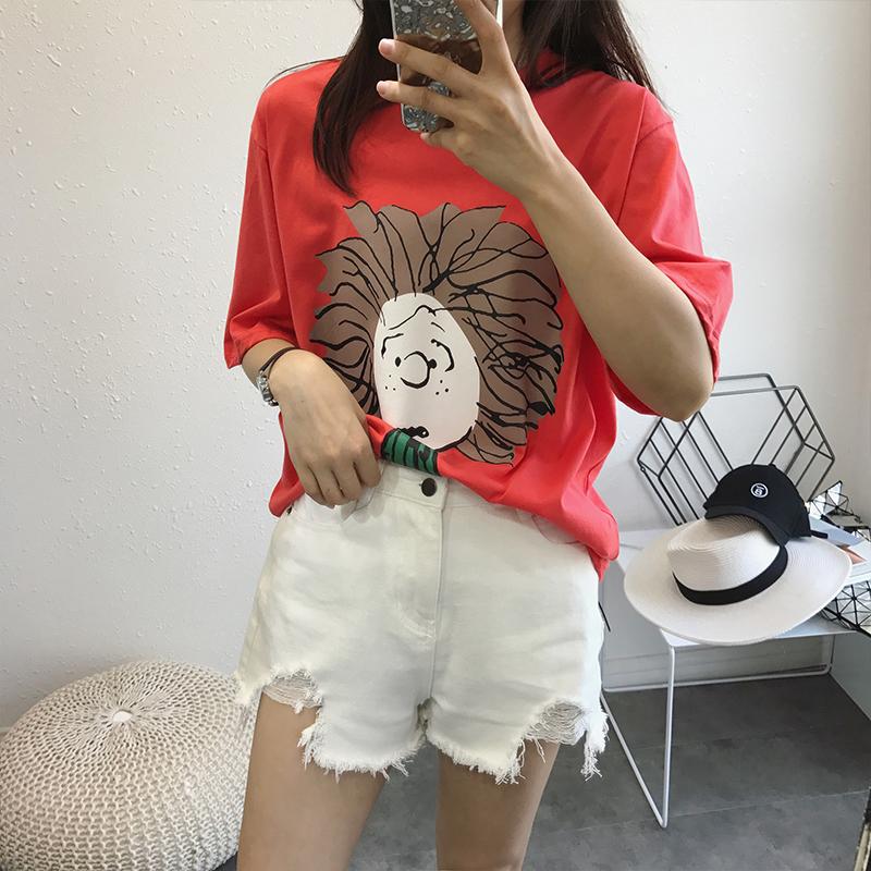 韩国短袖女夏季乱发女孩卡通印花T恤衫纯棉薄bf风宽松直筒休闲
