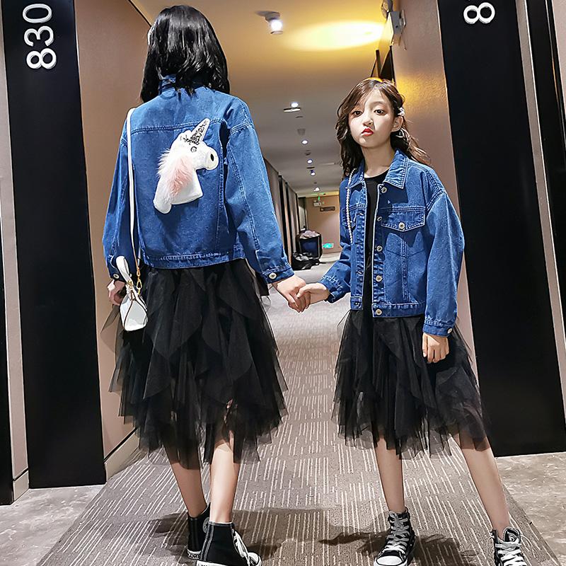 亲子装春装新款韩版洋气母女装女童春秋款休闲风衣外套爵士街舞服
