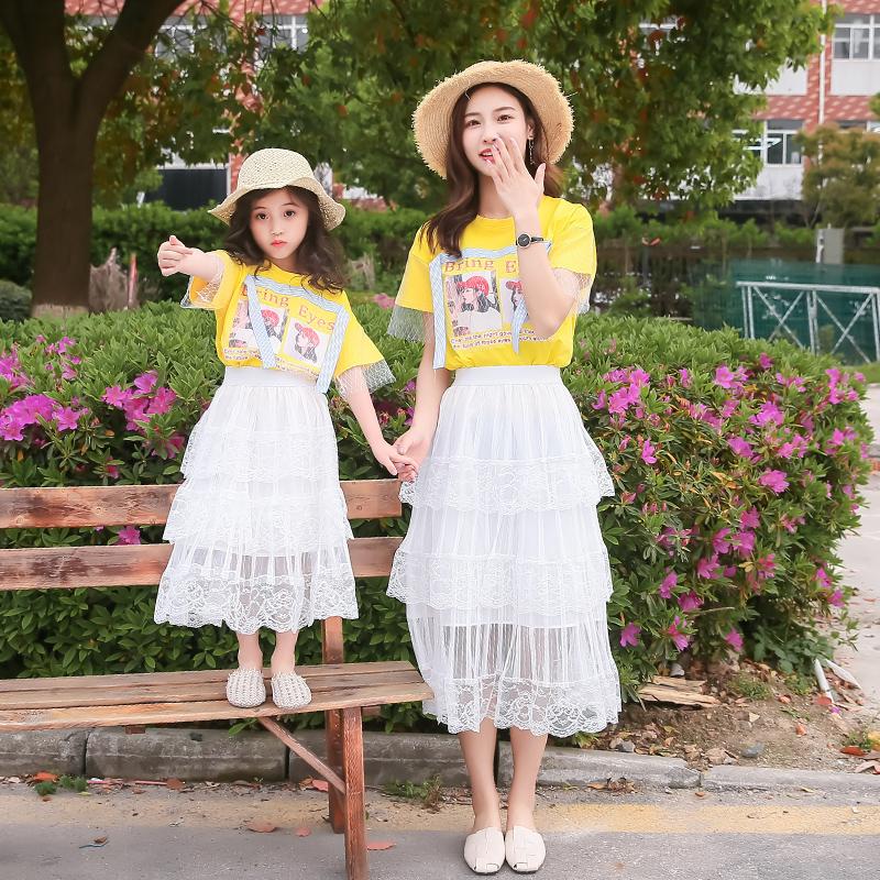 夏款亲子装母女装洋气裙装套装2020新款时尚网红女童跳舞演出衣服