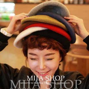 Tide British retro high-grade pure wool bud beret painter cap Ms. warm autumn and winter Korean