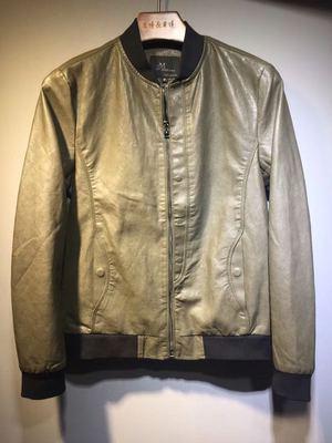 17年秋装新款男士韩版修身水洗皮PU皮衣货号8899码M-4XL控价285