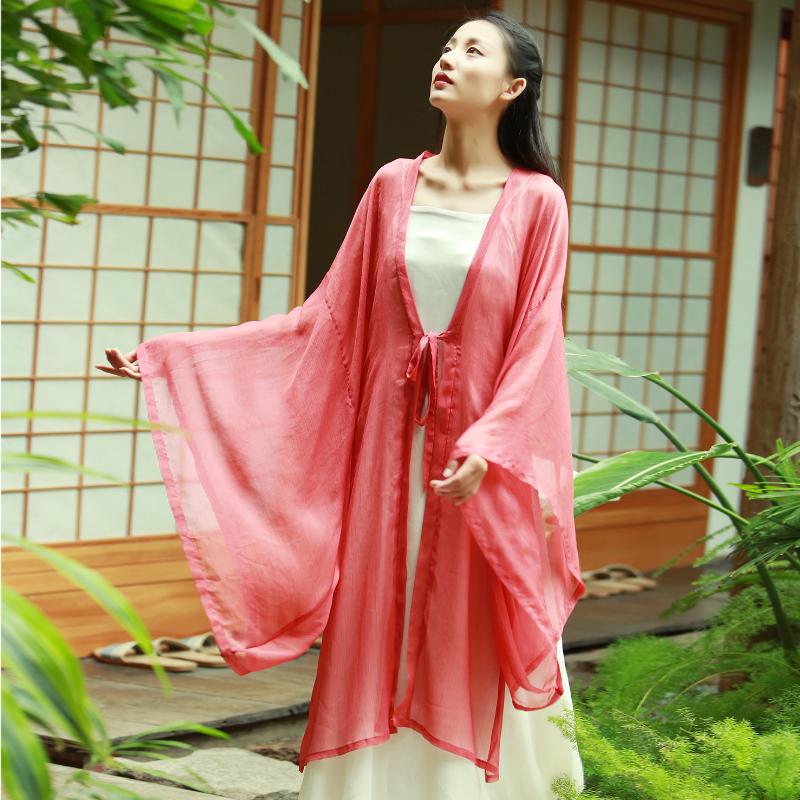 149.00元包邮红袖-中式中国风禅意女装茶服禅服汉服改良版水袖复古外披连衣裙