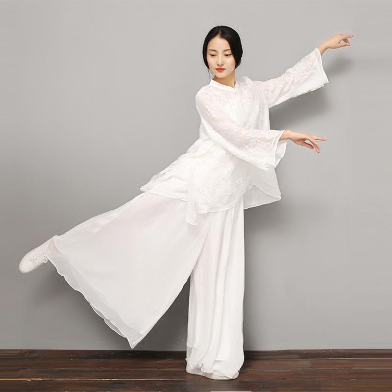 入定观中国风茶服古风阔腿裤白色禅修禅意禅舞服女装中式瑜伽裤子