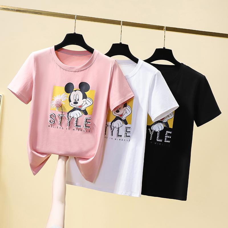 2021夏季韩国东大门新款重工钉珠米奇宽松半袖体恤上衣短袖T恤女