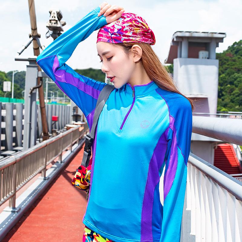 加绒长袖T恤保暖速干女秋冬季防风衣透气立领拉链拼色韩版