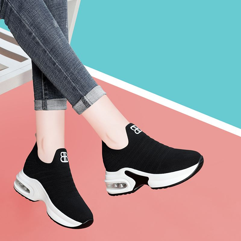 . Inner high heel shoeless sneakers casual foot wave shoes spring and autumn womens travel shoes sports womens wear