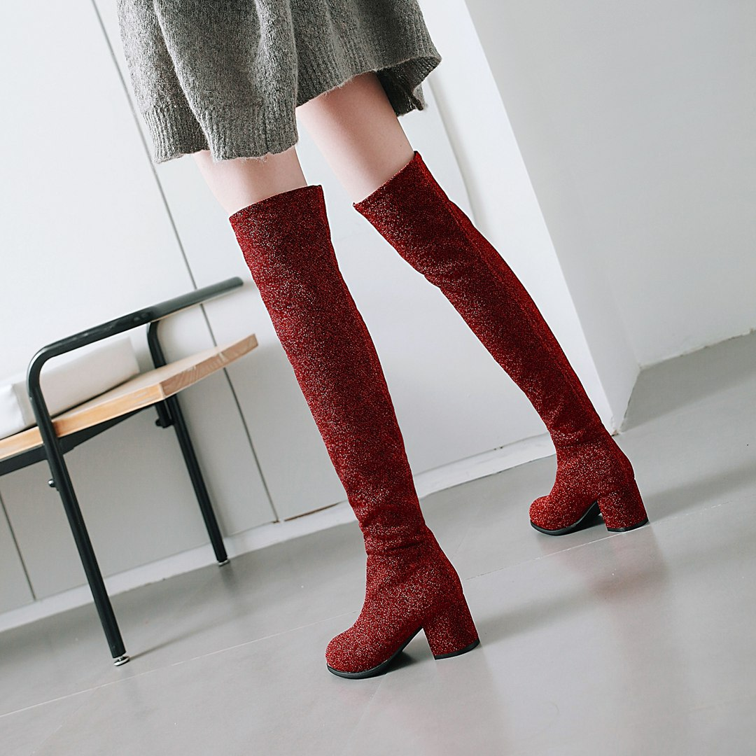 Europe and America 2018 autumn new silver grey silk stretch knee high boots womens thick heel high heels warm thin leg boots