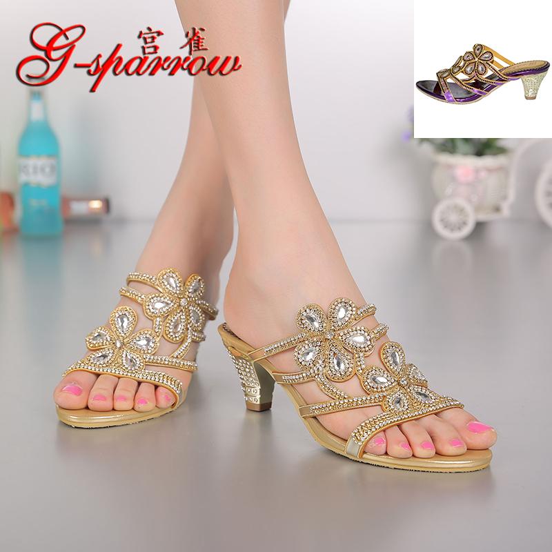 2020 spring and summer new thick heel diamond sandals Bohemian Roman high heel hollow diamond inlaid leather womens sandals