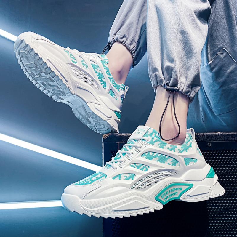 男鞋2021春季新款百搭运动休闲跑步夏季增高老爹鞋ins潮鞋网面
