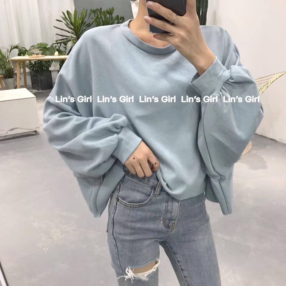 韩国订单2018秋款纯色宽松显瘦百搭圆领套头灯笼袖T恤学生女潮ins