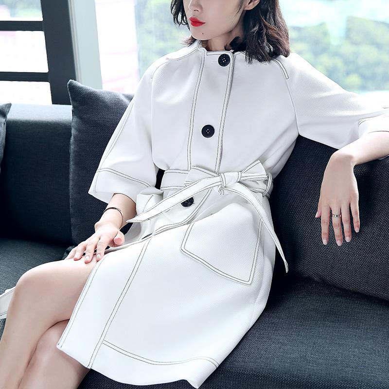 米肯欧洲站2018早秋季新款大衣欧美时尚风衣女中长款白色外套女装