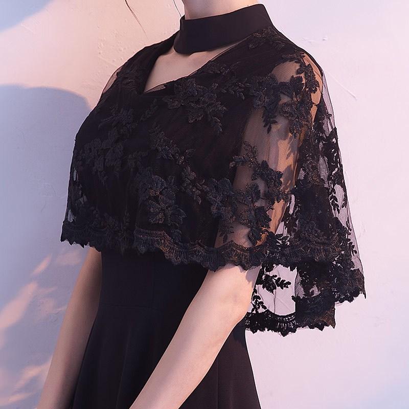 黑色晚礼服女2018新款长款高贵端庄大气显瘦宴会学生毕业礼服长裙