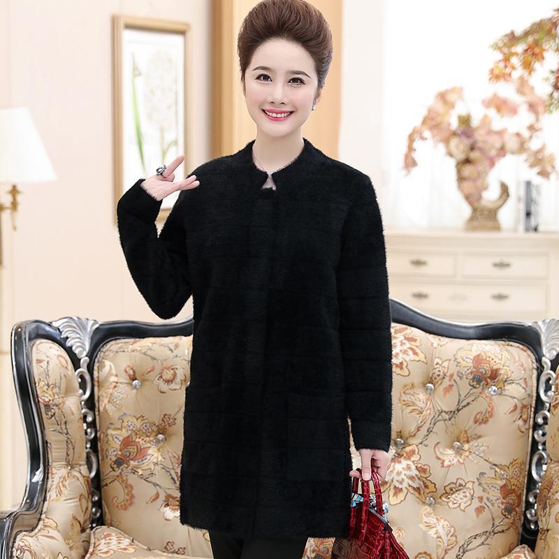 2017冬季新款中老年妈妈装中长款单排扣羊毛衫 S4C82P125控价168