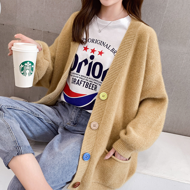 Mink like Slouchy cardigan sweater for womens loose fall 2019 new Korean medium long large size knitted jacket