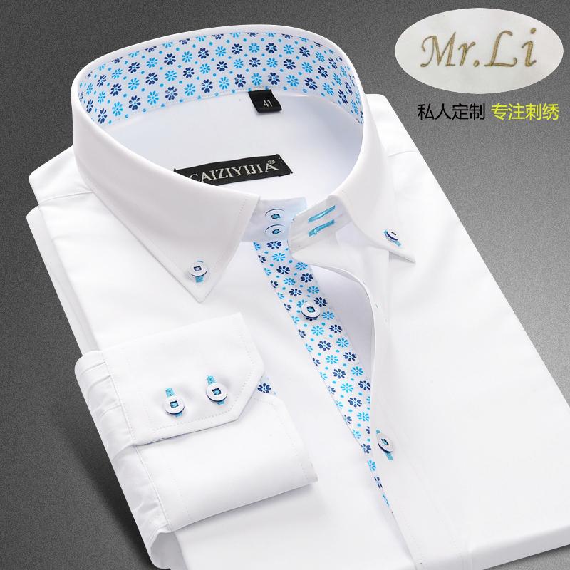 Private custom embroidery pattern mens long sleeve shirt Korean slim fit no iron printing fashion shirt for boyfriend