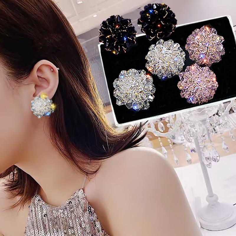 新款潮纯银针防过敏夸张大耳钉精致水晶编织夏季清新耳环S9252019