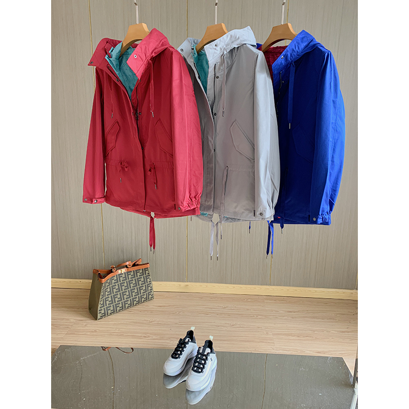 Outdoor sports ~ 2021 spring outdoor single layer Jacket Womens solid color Hooded Jacket