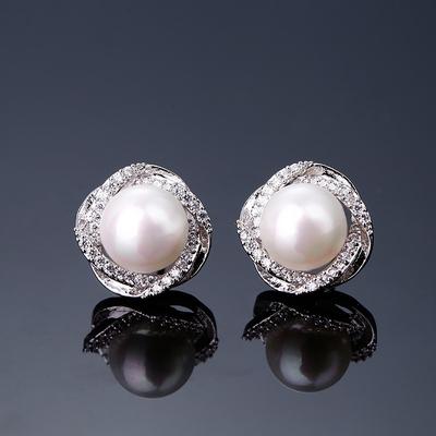 925纯银镶钻女日韩国个性珍珠耳钉