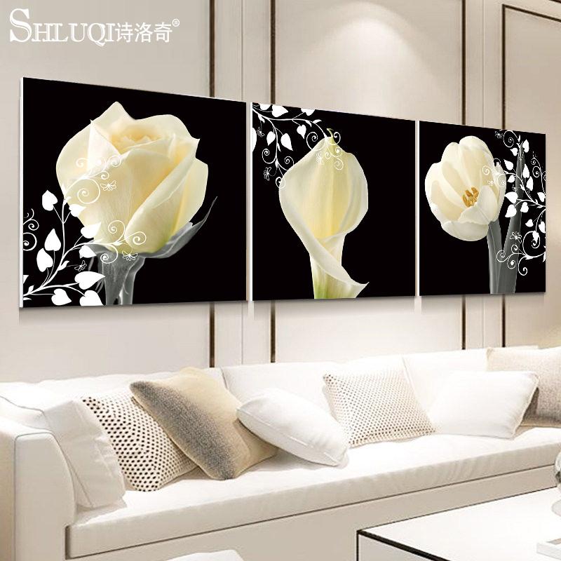 客厅装饰画沙发背景墙现代简约壁画水晶简欧三联画无框挂画玫瑰花