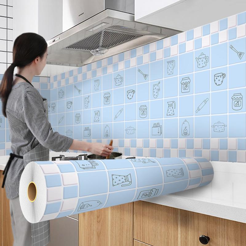 厨房防油贴纸橱柜大理石贴纸瓷砖桌面家具防水自粘台面衣柜翻新贴