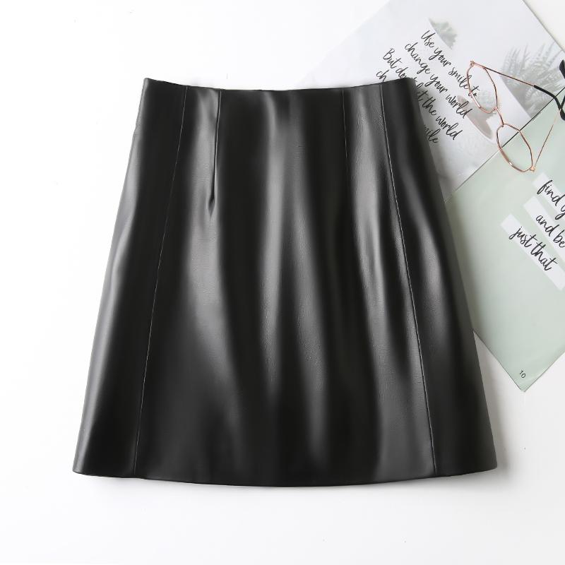 真皮皮裙女绵羊皮2021秋冬新款黑色高腰显瘦包臀a字半身裙短裙