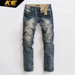 KE秋季美式复古牛仔裤 男直筒水洗磨黄做旧补丁个性抓痕长裤M0099