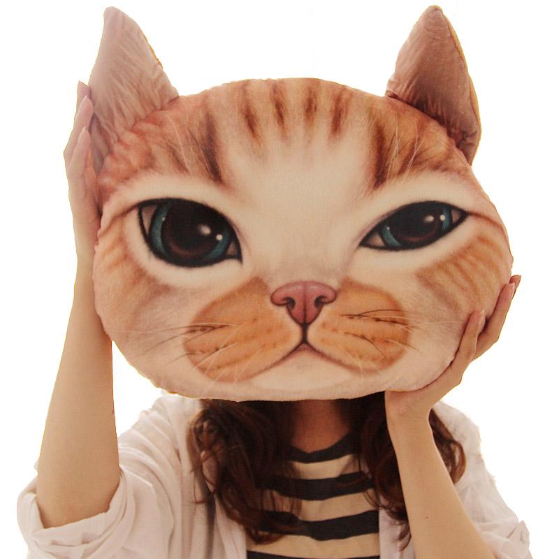 卡通逼真3D立體喵星人貓咪抱枕居家 貓頭靠墊可拆洗 生日