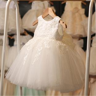女童蓬蓬纱公主裙花童白色婚纱礼服儿童小女孩洋气生日宴会走秀春