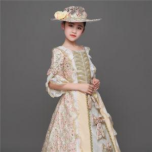 儿童欧洲宫廷英国女皇服装欧式女舞蹈服拖尾公主裙礼服古装演出服