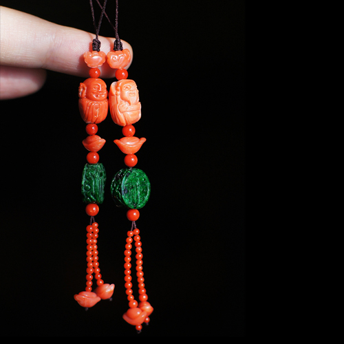 Small luxury ┆ Taiwans natural organic gem Huaqing Emerald Pendant God of wealth / boy optional