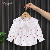 Baby girl shirt plus cashmere thickening autumn and Winter Warm foreign air long-sleeved baby shirt girls shirt thin section of spring and autumn