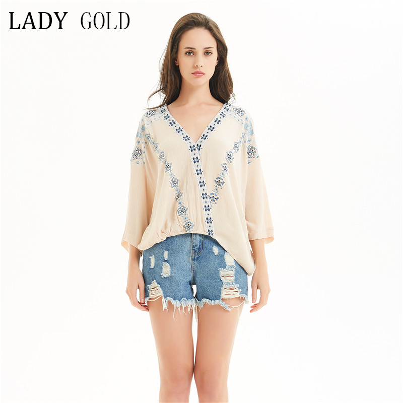 Lady gold European station new 2019 spring and autumn womens shirt 3 / 4 sleeve V-neck Black Loose Bohemian top