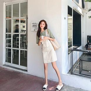 可爱学生韩版 洋气中长款 减龄背带裙套装 牛仔连衣裙女夏小个子裙子