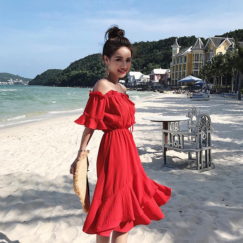 2018新款冷淡风裙子女夏季初恋裙超仙红色性感露肩一字肩连衣裙春