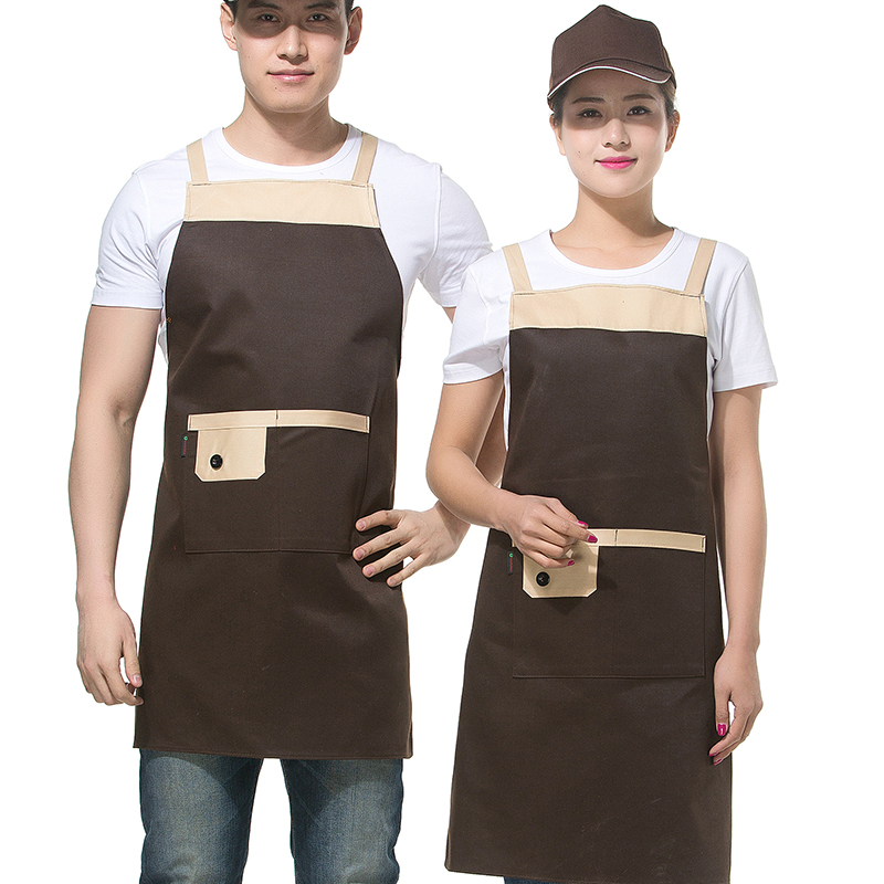 Fashion catering kitchen, Internet cafe, supermarket waiters work clothes, hanging neck apron, customized food factory logo