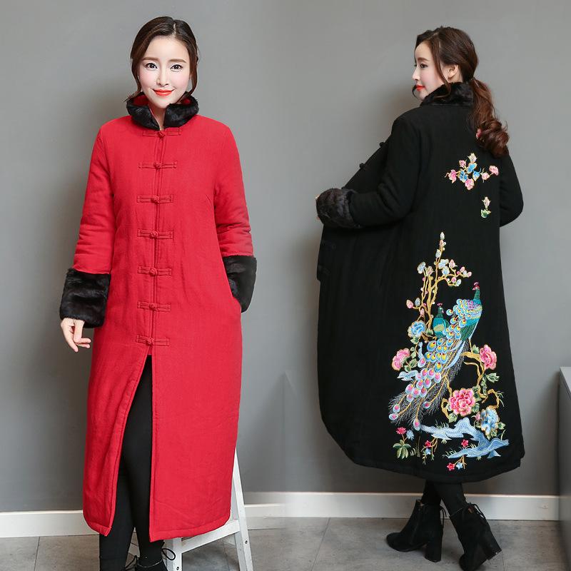 2017冬季新款推荐民族风女文艺刺绣长款兔毛罗口开衫立领棉衣外套