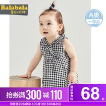 巴拉巴拉女童婴儿连衣裙小童宝宝背心裙格子洋气公主裙儿童夏季潮