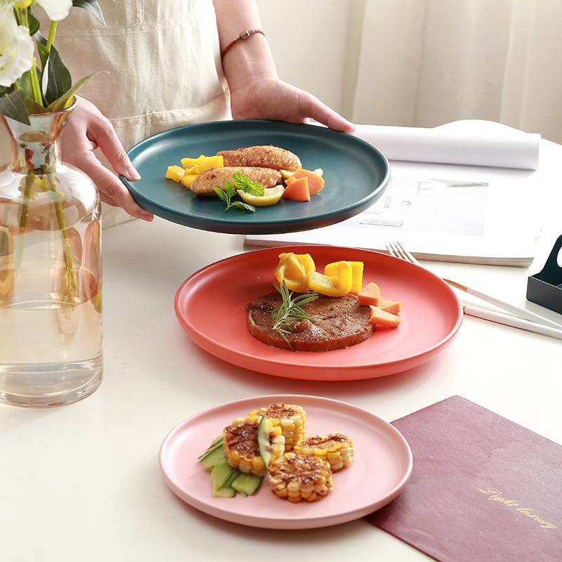 北欧创意陶瓷盘子烤箱烤盘 家用早餐盘西餐盘菜盘圆形平盘牛排盘