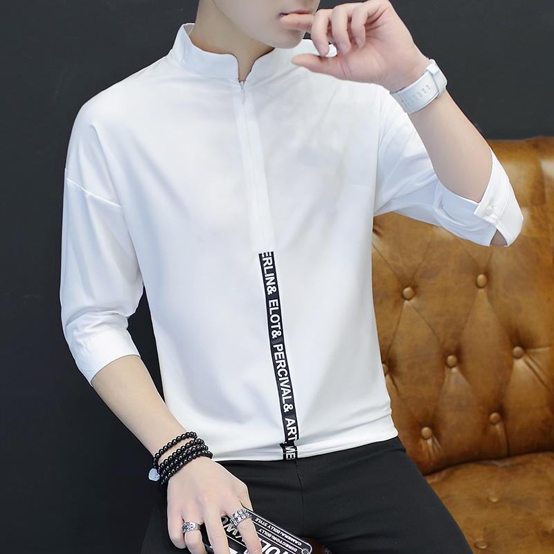 春夏季薄款中袖T恤男士修身白色拉链打底衫韩版七分袖立领短袖潮
